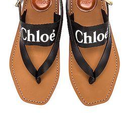 Chloe Woody Slingback Sandals in Black | FWRD