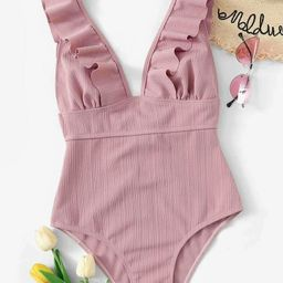 Plunging Ruffle One Piece Swimsuit   SHEIN