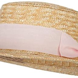 Women's Straw Braid Wide Ribbon Accented Boater Hat   Amazon (US)