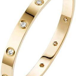 Love Bracelet 18K Gold Plated CZ Stainless Steel with Crystal Bangle Bracelets for Women Girls Je... | Amazon (US)