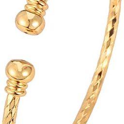 Unisex Simple Cuff Bracelet 18K Real Gold Platinum Plated Fine Bracelets Fashion Jewelry Heart/Cr... | Amazon (US)
