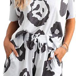 PRETTYGARDEN Women's Tie-Dye Two Piece Short Pajamas Set Short Sleeve Sleepwear Tops with Short... | Amazon (US)