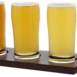 Beer Flight Set with (1) Wooden Flight Paddle and (4) 5oz Ounce Glasses – Sampler Kit for Beer ... | Amazon (US)