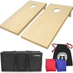 GoSports Solid Wood Premium Cornhole Set - Choose Between 4'x2' or 3'x2' Game Boards | Includes S... | Amazon (US)