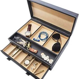 Stock Your Home Luxury Mens Dresser Valet Organizer for Watches, Jewelry and Accessories - Large ... | Amazon (US)