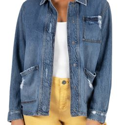 Women's Kut From The Kloth Distressed Denim Utility Jacket, Size Small - Blue | Nordstrom