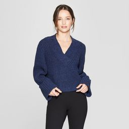Women's Long Sleeve Wide Cuff Pullover Sweater - Prologue Navy L, Size: Small, Blue | Target