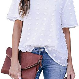 Blooming Jelly Womens Chiffon Blouse Summer Casual Round Neck Short Sleeve Pom Pom Shirts Tops | Amazon (US)