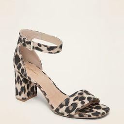 Leopard-Print Canvas Block-Heel Sandals for Women | Old Navy (CA)