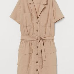 Short dress in oxford-weave cotton fabric. Notched lapels, buttons at front, and short sleeves. C... | H&M (US)