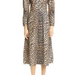 Leopard Print Long Sleeve Poplin Midi Dress   Nordstrom
