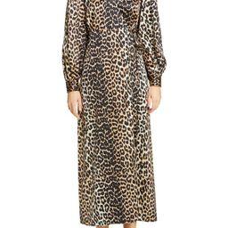Leopard Print Long Sleeve Silk Satin Midi Wrap Dress   Nordstrom
