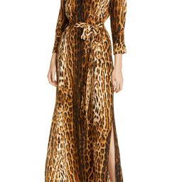 Cameron Leopard Print Silk Maxi Shirtdress   Nordstrom