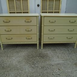 Pair Faux Bamboo Bachelor chests 3 drawers 2 Dressers Nightstands Hollywood Regency REPRO Henry L...   Etsy (CAD)