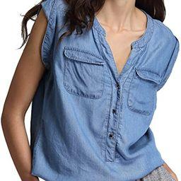 Escalier Women's Sleeveless Denim Shirt Chambray Button Down Blouse V-Neck Jean Shirts Tank Top | Amazon (US)