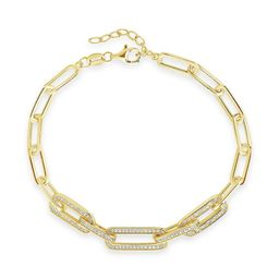 CZ Long Linked Bracelet   Sterling Forever