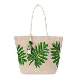 Time and Tru Women's Embroidered Leaf Tote with Cotton Braided Rope Handles   Walmart (US)