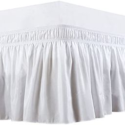 Biscaynebay Wrap Around Bed Skirts Elastic Dust Ruffles, Easy Fit Wrinkle and Fade Resistant Text... | Amazon (US)