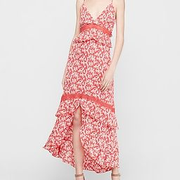 Printed Lace Pieced Tiered Hi-lo Maxi Dress | Express