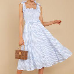 Lucky Enough Blue Multi Stripe Midi Dress (BACKORDER AUGUST)   Red Dress