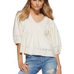 Scoop Women's Blouson Sleeve V-Neck Shirt | Walmart (US)