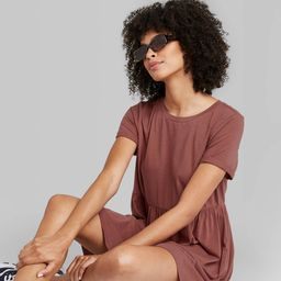 Women's Short Sleeve Knit Babydoll Dress - Wild Fable Cinnamon XS, Red | Target