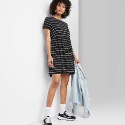 Women's Striped Short Sleeve Knit Babydoll Dress - Wild Fable™ | Target