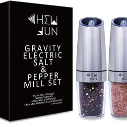 Gravity Electric Salt and Pepper Grinder Set with Adjustable Coarseness Automatic Pepper and Salt... | Amazon (US)