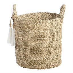 Small Seagrass Delilah Tote Basket with Tassels | World Market