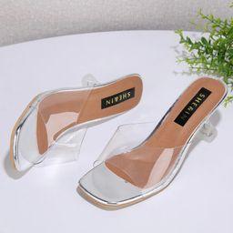 Open Toe Clear Heeled Mules | SHEIN