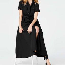 J.Jill Women's Casual Dresses BLACK - Black Belted Maxi Shirt Dress - Women & Petite   Zulily