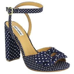 Not Rated Women's Sandals NAVY - Navy Polka Dot Ankle-Strap Block-Heel Pinup Sandal - Women | Zulily