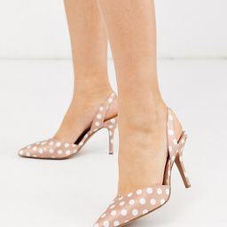 ASOS DESIGN Wide Fit Whitby slingback mid-heels in beige polka dot-Multi   ASOS (Global)