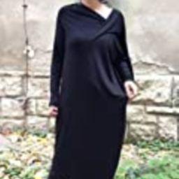 Black extravagant asymmetrical tunic dress/plus size tunic/oversized dress/long sleeved dress /   Amazon (US)