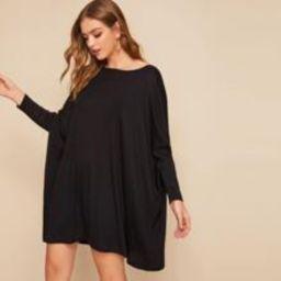 Solid Dolman Sleeve Oversized Dress   SHEIN