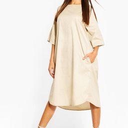 Womens Cotton Roll Sleeve Oversized Midi Dress - Beige - 12   Boohoo.com (US & CA)