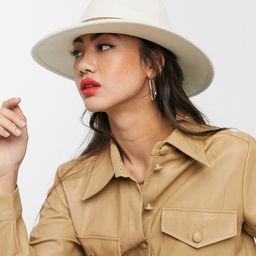 ASOS DESIGN felt fedora hat with tan band and size adjuster in cream   ASOS (Global)