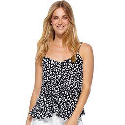 Scoop Women's Ruched Front Peplum Hem Printed Tank Top   Walmart (US)