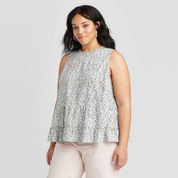 Women's Floral Print Tiered Cropped Tank Top - Universal Thread™ Mint (Regular & Plus)   Target