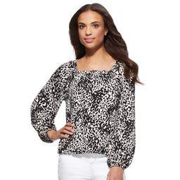 Scoop Women's Square Neck Leopard Print Blouse | Walmart (US)