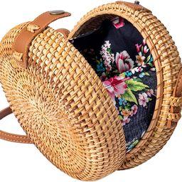 Bolsa de mimbre con diseño de paja de ratán tejida al hombro | Amazon (US)