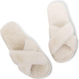 Fires Women's Cross Band House Bedroom Slippers Soft Home Outdoor Sandals | Amazon (US)