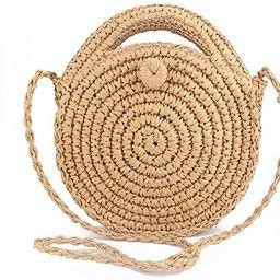 Straw Crossbody Bag Women Weave Shoulder Bag Round Summer Beach Purse and Handbags | Amazon (US)