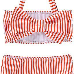 NZRVAWS Toddler Baby Girls Swimsuit Off Shoulder Stripe Halter Two Piece Bikini Bathing Suit Swin... | Amazon (US)