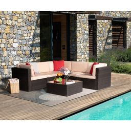 Tallarook 6 Piece Rattan Sectional Seating Group with Cushions | Wayfair North America