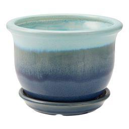 "Better Homes & Gardens Oceanoid Ceramic Planter with Saucer, Blue, 6"" | Walmart (US)"