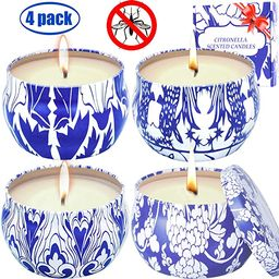 MELOPHY Citronella Candles, Outdoor and Indoor 4 Pack 4.8 Ounce Natural Scented Candles, 100% Pur... | Amazon (US)