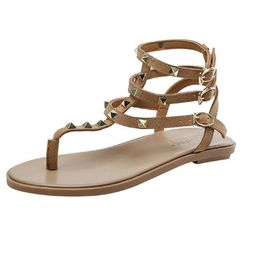'Ruth' Rockstud Ankle Strap Sandals (2 Colors)   Goodnight Macaroon