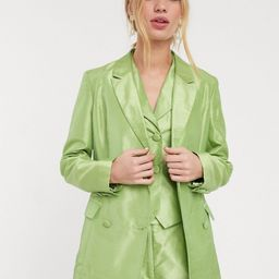 UNIQUE 21 structured blazer in shimmer fabric co-ord-Green | ASOS (Global)