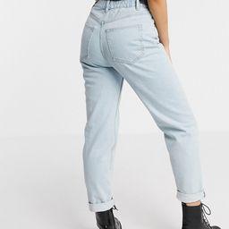 Pull&Bear elasticated waist mom jeans in light blue | ASOS (Global)